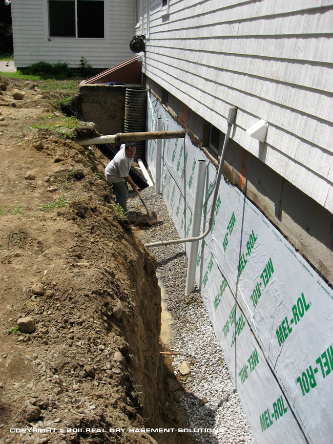 Wraps sealants foundation barrier installations in ma boston cape cod ri northern ct and for Exterior foundation drainage solutions